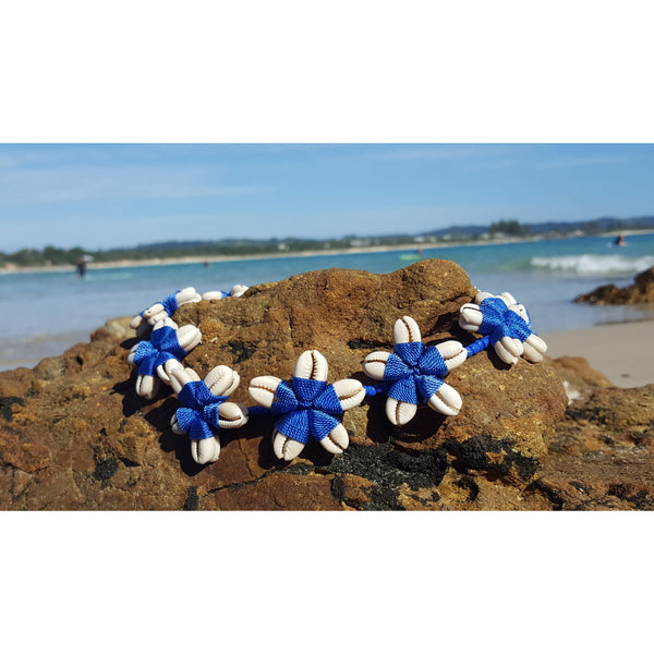 necklace blue flower cowrie shell design beach style boho necklace