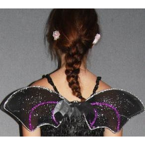 Black Bat Wings  purple silver glitter bat body centre elastic straps