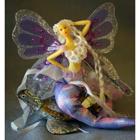 Mermaid tail handmade doll ariel purple lavender blonde hair ornament decoration