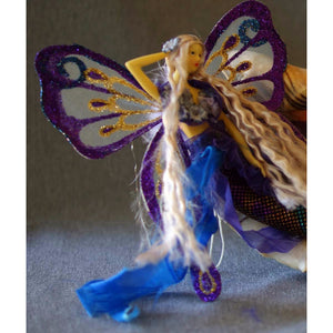Mermaid doll collection with butterfly wings handmade tail blue purple