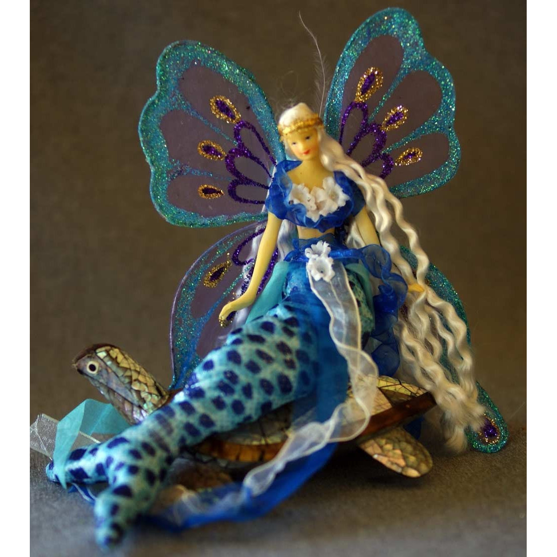 Mermaid tail doll decoration  turquiose costume underwater handmade doll