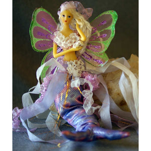 Mermaid tail doll mobile or sitting ornament decoratiion shell butterfly wings lilac light purple lavender flowers
