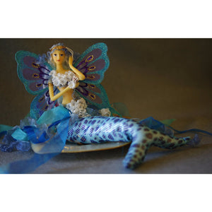 mermaid crown doll flexible tail holding shell butterfly wings royal blue turquiose tail