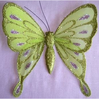 Lime Butterfly decoration ornament party cake topper wedding theme floral bouquet