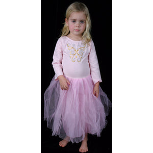 Butterfly dress, Stretch cotton Lycra long sleeve with butterfly motif full tulle skirt