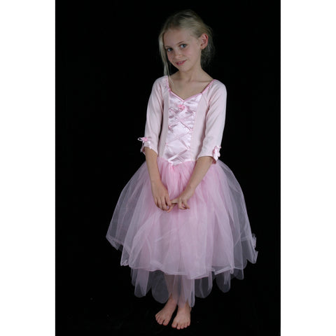 Soft Cotton Stretch pink ballet dress tulle skirt ribbon bodice
