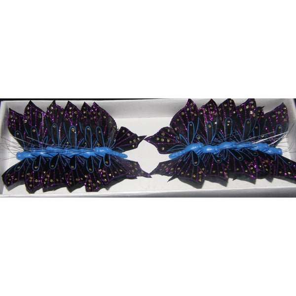 feather glitter butterfly black blue purple butterfly decoration party theme cake topper on florist wire