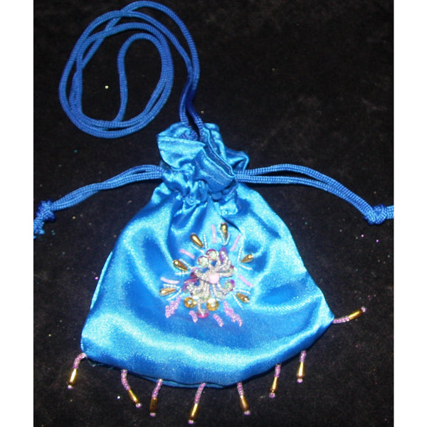 Beaded Fairy Bag blue satin drawstring fairy glitter dilly bag