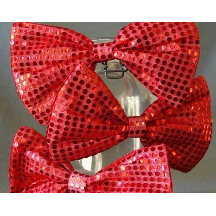 Red Bowtie Sequin Extra Large Jumbo circus Clown Bow Tie