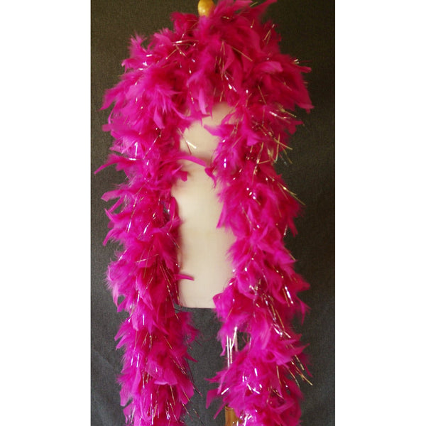 Hot Pink Feather Boa Tinsel Glitter highlights