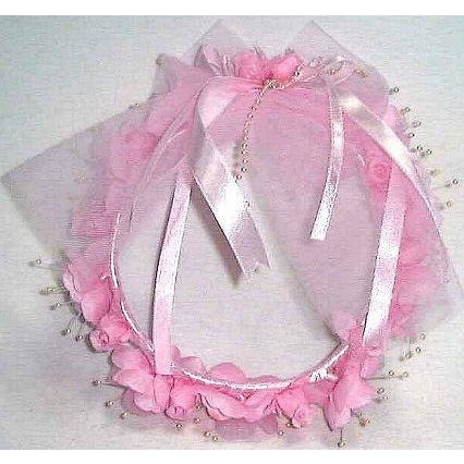 Child size Pink Flower Ring Garland pearl stamens