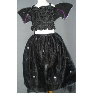 Halloween Witch Bat costume long tutu wings top set silver glitter highlights