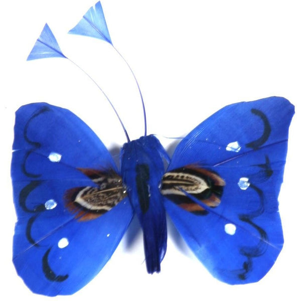 Blue Butterfly feather handmade decoration ornament craft project