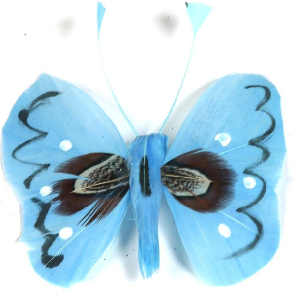 Blue butterfly decoration feather decoration cakes craft project supplies floral bouquet arrangement