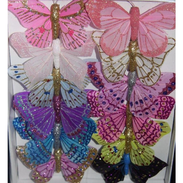Feather Butterfly Glitter Decoration  ornaments Hairclips or Cake Topper