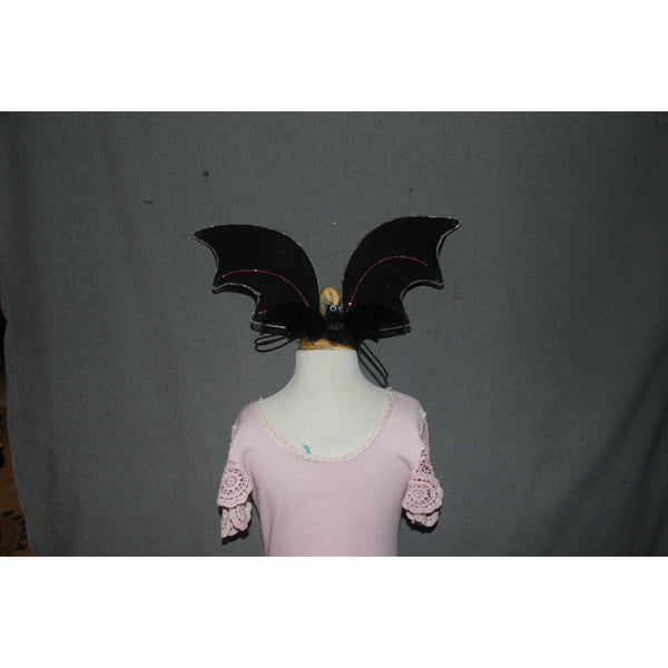Dog size halloween black bat wings batwings with elastic and glitter trim
