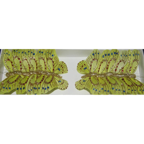 Lime Butterfly decoration party theme room trinket ornament butterfly glitter lime green butterflies