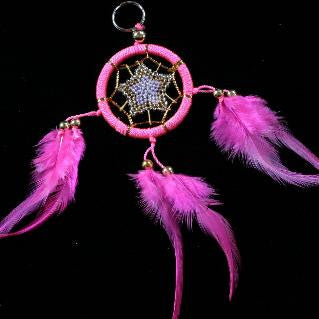 small dreamcatcher keyring pink feather beaded