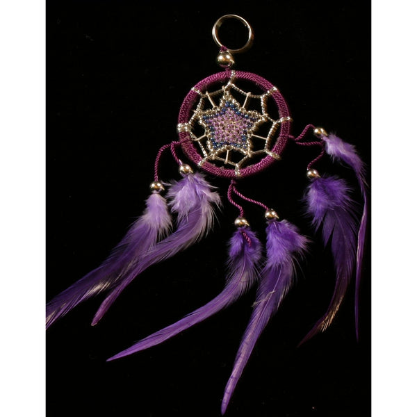 small purple dreamcatcher keyring feather beaded
