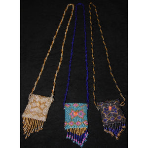 Crystal Pouch Necklace Beadwork Fringe Handmade