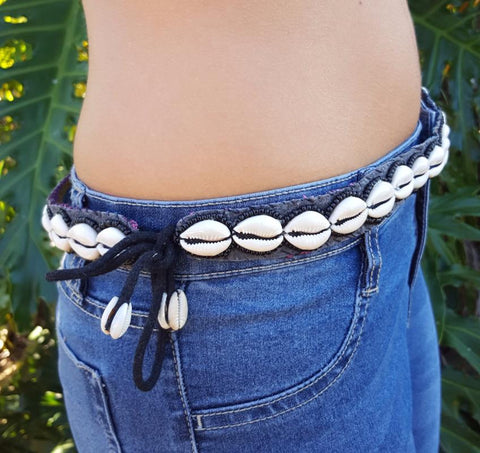 Cowrie shell tie up belt
