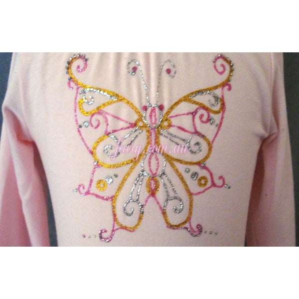 Hand painted glitter butterfly design motif front of dress