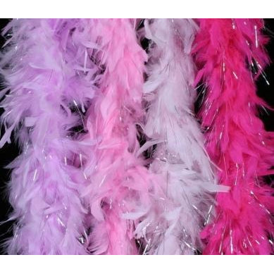 Long Thick Quality Feather Boa Glitter Tinsel Bright Mardi Gras Party Colors