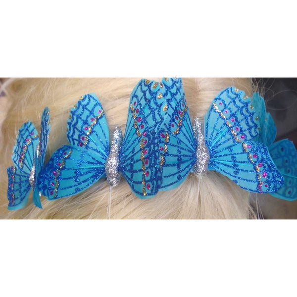 Blue Butterfly headband handmade