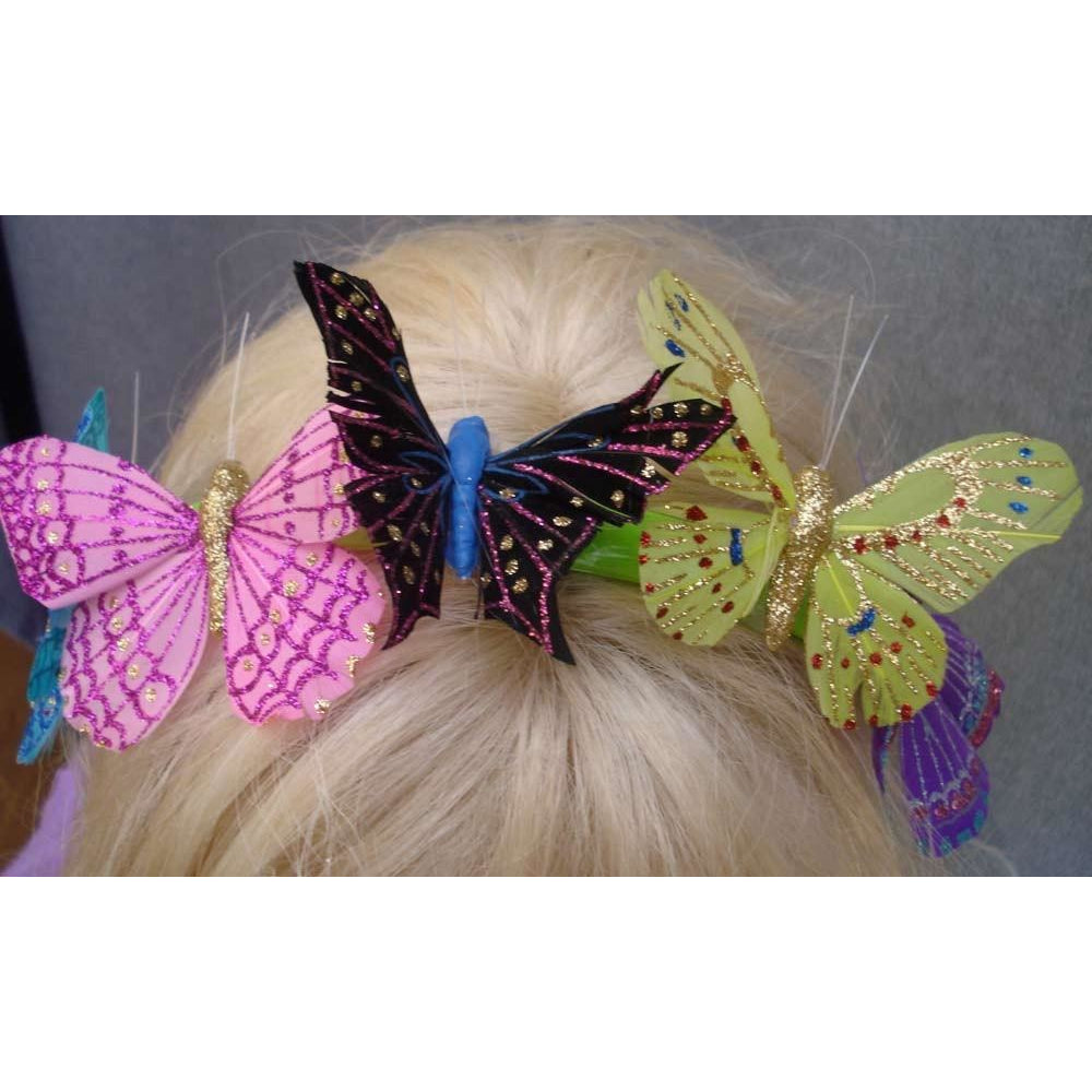 Butterfly party headband multicolor handmade glitter feather butterflies