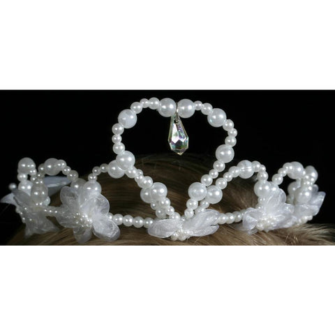heart shape tiara white pearls crystal droplet organza silk flowers veil wedding accessory hens night dress up costume