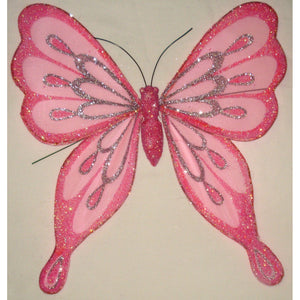 Butterfly Ornament Organza Glitter design Wings 25cm wingspan hot pink