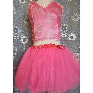 Pink tutu set hot pink tulle skirt lace top sequin detail comfortable party fairy wear