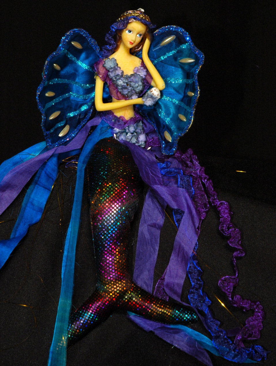 Blue/ Purple, l Mermaid Tail  Doll. 33cm