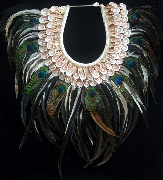 Mermaid Tribal  Peacock Feather and Shell Necklace