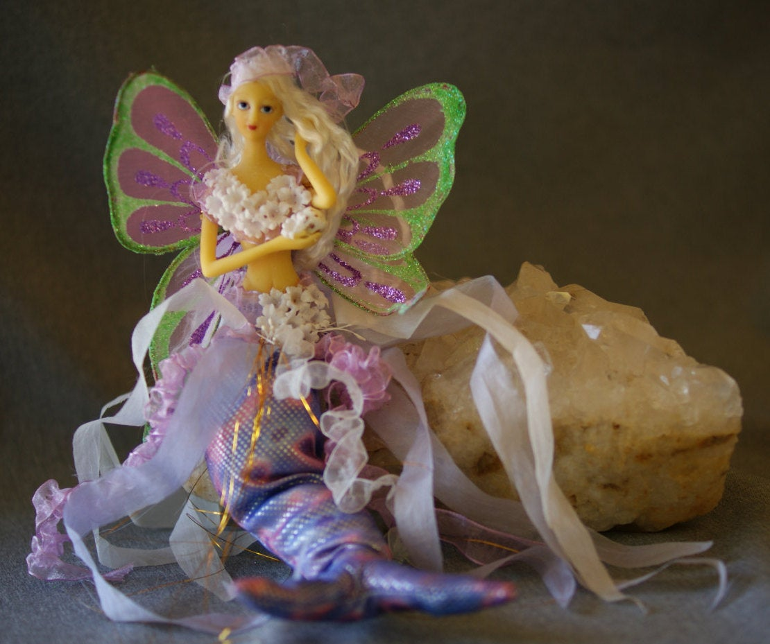 LILAC Mermaid Tail Doll Butterfly Wings holding shell