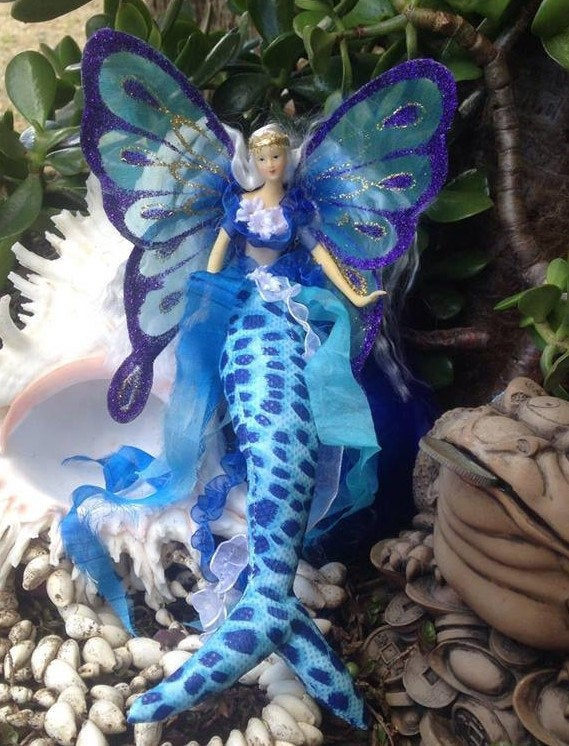 Handmade TURQUOISE Mermaid  Tail Doll Butterfly Wings