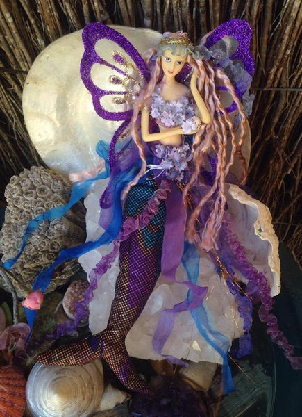 PURPLE/BLUE Mermaid crown Doll Butterfly Wings