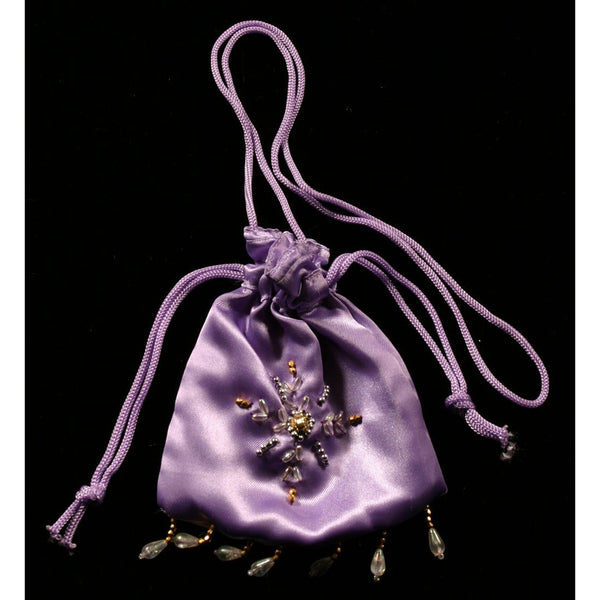 Beaded Fairy Bag  lavender drawstring dilly bag