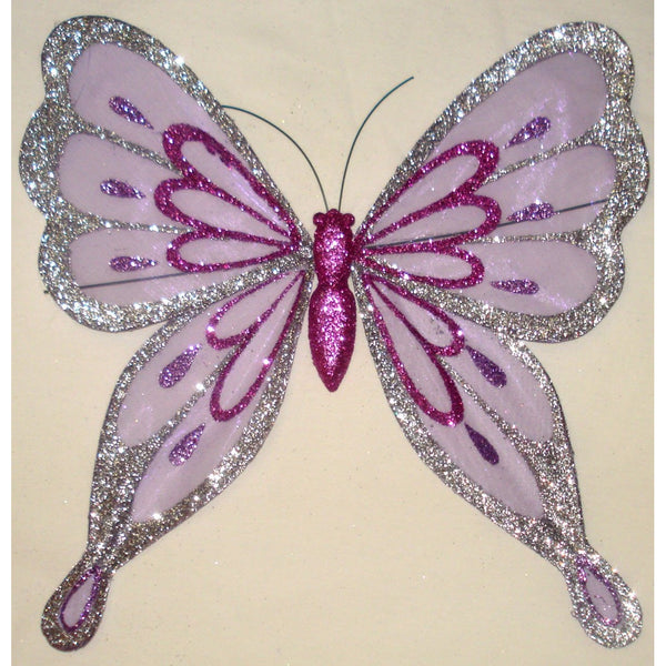 Butterfly purple silver  wings Feather Ornament decoration DIY craft project supplies