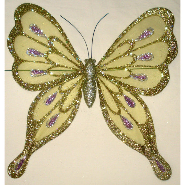 Butterfly organza glitter wings decoration ornament lime lilac 25cm