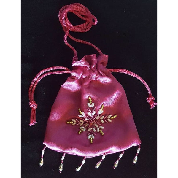Fairy Glitter bag hot pink satin beaded drawstring glitter dust bag