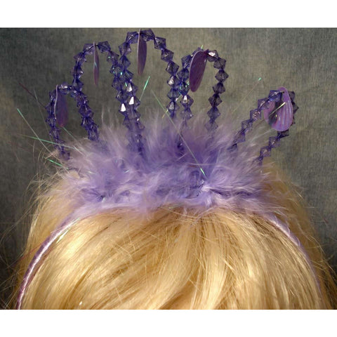 Little Mermaid Crown Ariel lilac bead tiara crown. feathers hanging clam shell sequins