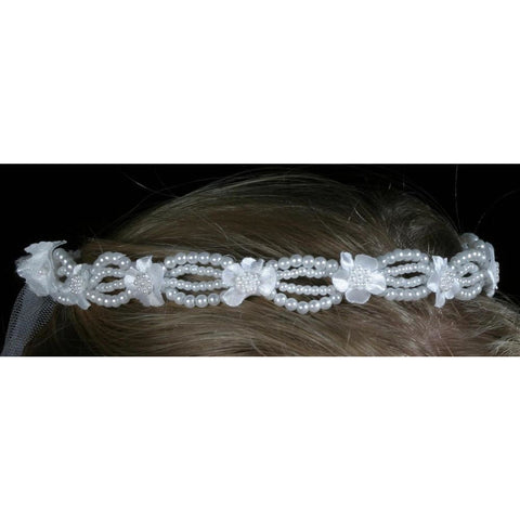 pearl beads wedding tiara veil crown bridal bride flower girl white dainty