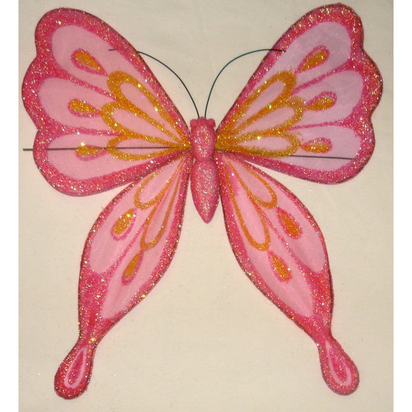 Hot Pink Butterfly decoration 25cm Organza glittery wings design pinched wings