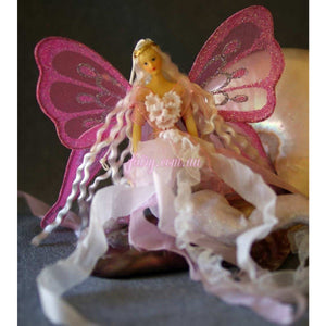 Pink tail mermaid doll with butterfly wings handmade flexible sitting or hanging ornament decoration