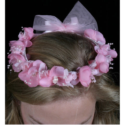 Flower Garland Pink Flower Child size pink ribbon bow back