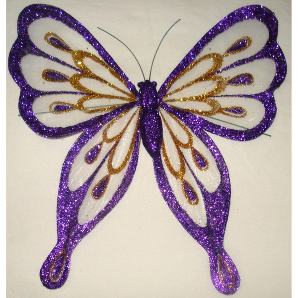 Purple glitter butterfly decoration organza glittered wings wire at back