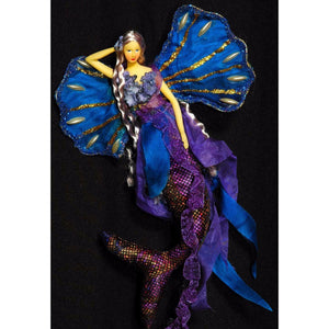 Mermaid doll  ornament hanger blue purple flexible silicon tail