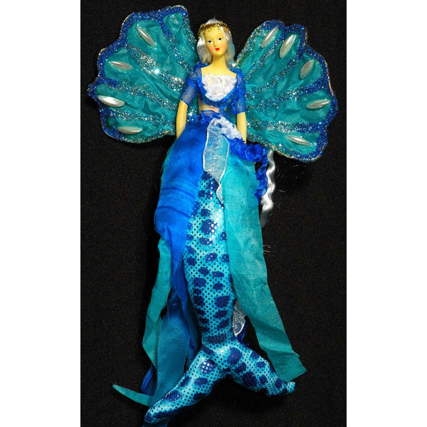 Mermaid tail doll tree decoration hanger mobile turquoise blue