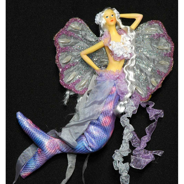 Mermaid tail doll  flowers  handmade clam shell wings flexible tail pink light purple lilac silver